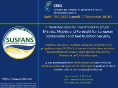 1° Workshop European Tour of SUSFANS project: Metrics, Models and Foresight for European SUStainable Food And Nutrition Security